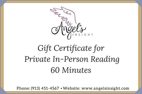 Gift Certificate- Private In-Person Reading-60 Min