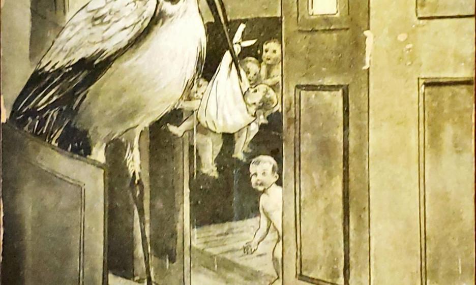 Stork Baby Train Postcard.jpg
