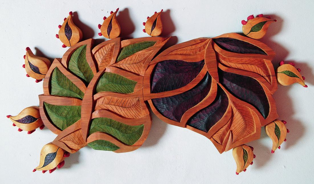 Genetic Leaf Tree, 2005, Wood, acrylic, 150 x 90 x 20 cm