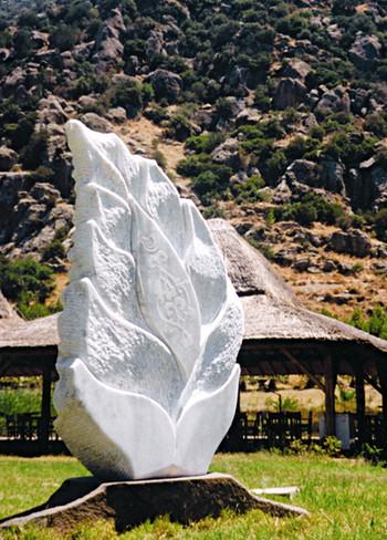 Ornamented Leaf Tree, 2003, Stone, 188 x 70 x 55 cm