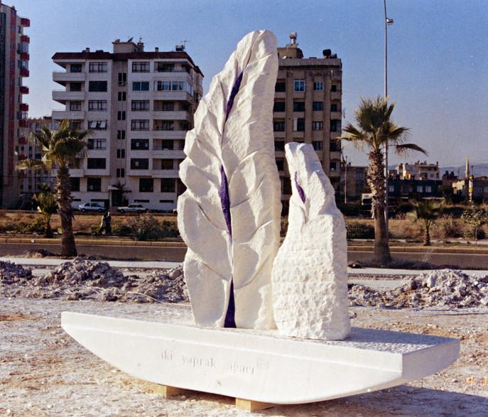 Two Leaf Tree, 2003, Stone, 320 x 270 x 70 cm
