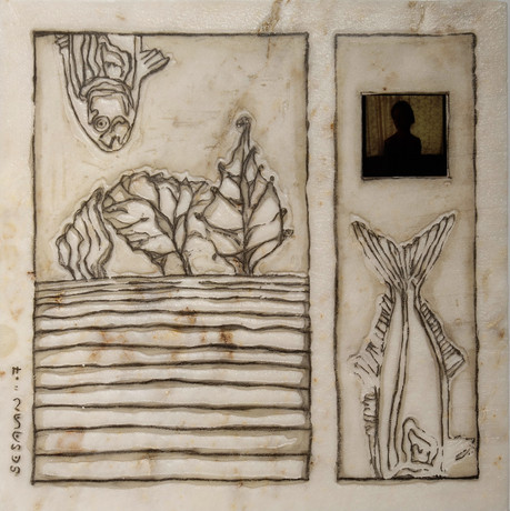 Landsickness Like An Arrow Trough My Heart, 2007, Stone, pencil, dia, 40 x 40 x 4 cm