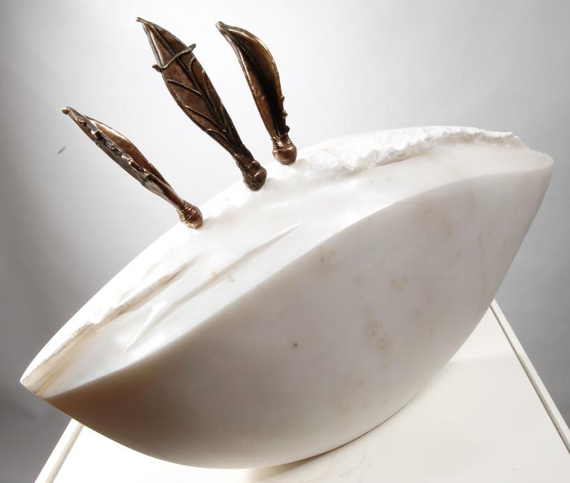 Limbo, 2008, Stone, bronze, 70 x 65 x 22 cm