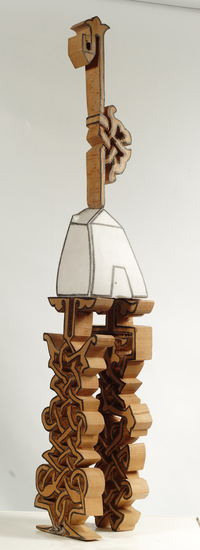 A house for My Roots, 2008, Stone, wood, 88 x 20 x 20 cm