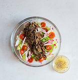 Beef, Radish, Tomatoes, Caramelized Onions, Lettuce