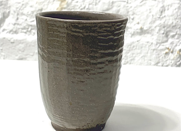 Brown stoneware carved cup