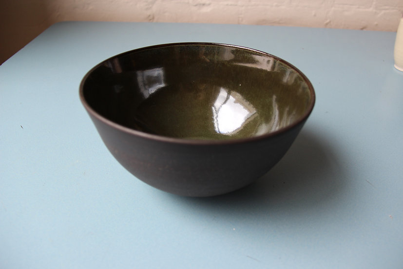 Chocolate clay with green lustre glaze