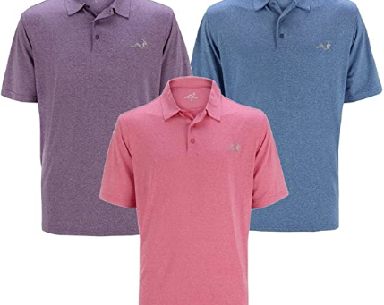 Woodworm Golf Men's Solid Heather Golf Polo Shirt