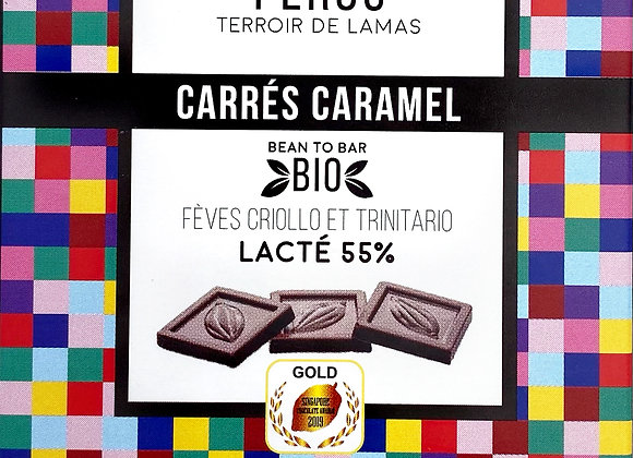 Carré Caramel Pérou Lacté 55% - Millésime Chocolat