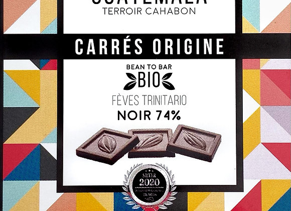 Carrés Origine Guatemala Noir 74% - Millésime Chocolat