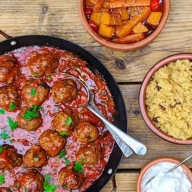 Moroccan inspired spiced meatballs with fruity couscous.