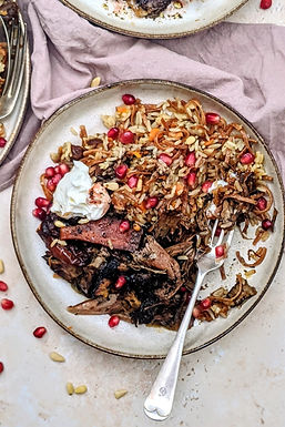 Slow cooked Easter lamb with pomegranate and spiced rice