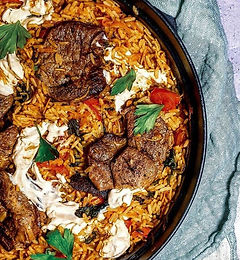 Lamb and rice pilafi one pot.