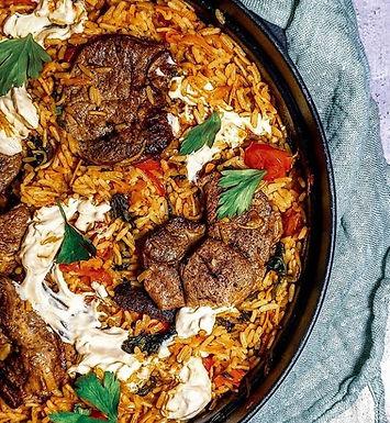 Lamb and rice pilafi one pot.