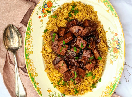 Afelia - Pork with red wine and coriander seeds
