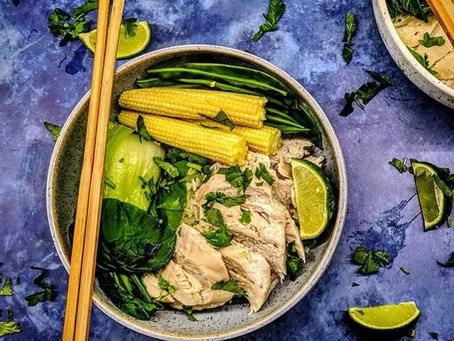 Coconut and lime poached chicken.