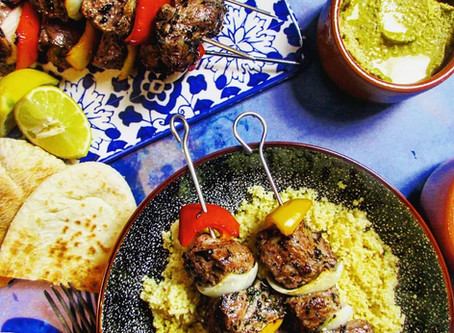 Lamb Kebabs with spiced couscous.