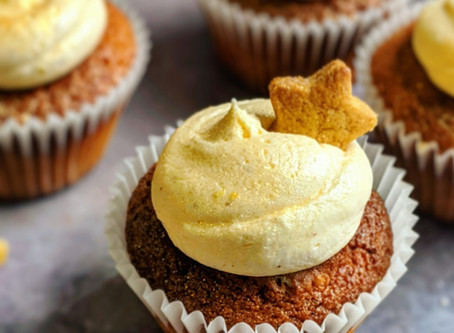 Gingerbread cupcakes with lemon icing.