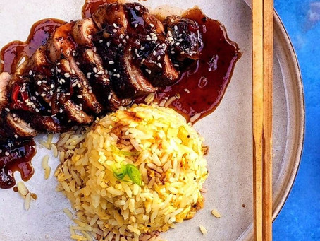 Pan-fried duck breast in a sweet and tangy tamarind sauce
