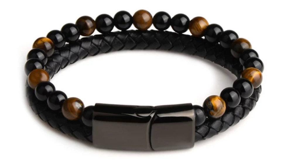 Men's Tiger Eye, Black Agate and Leather Bracelet