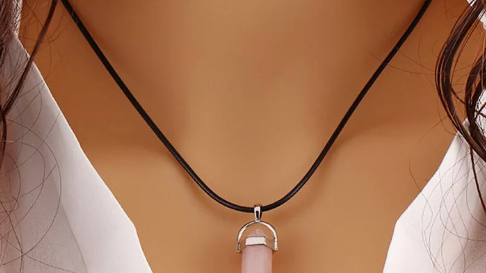 Leather Stone Necklace - Rose Quartz