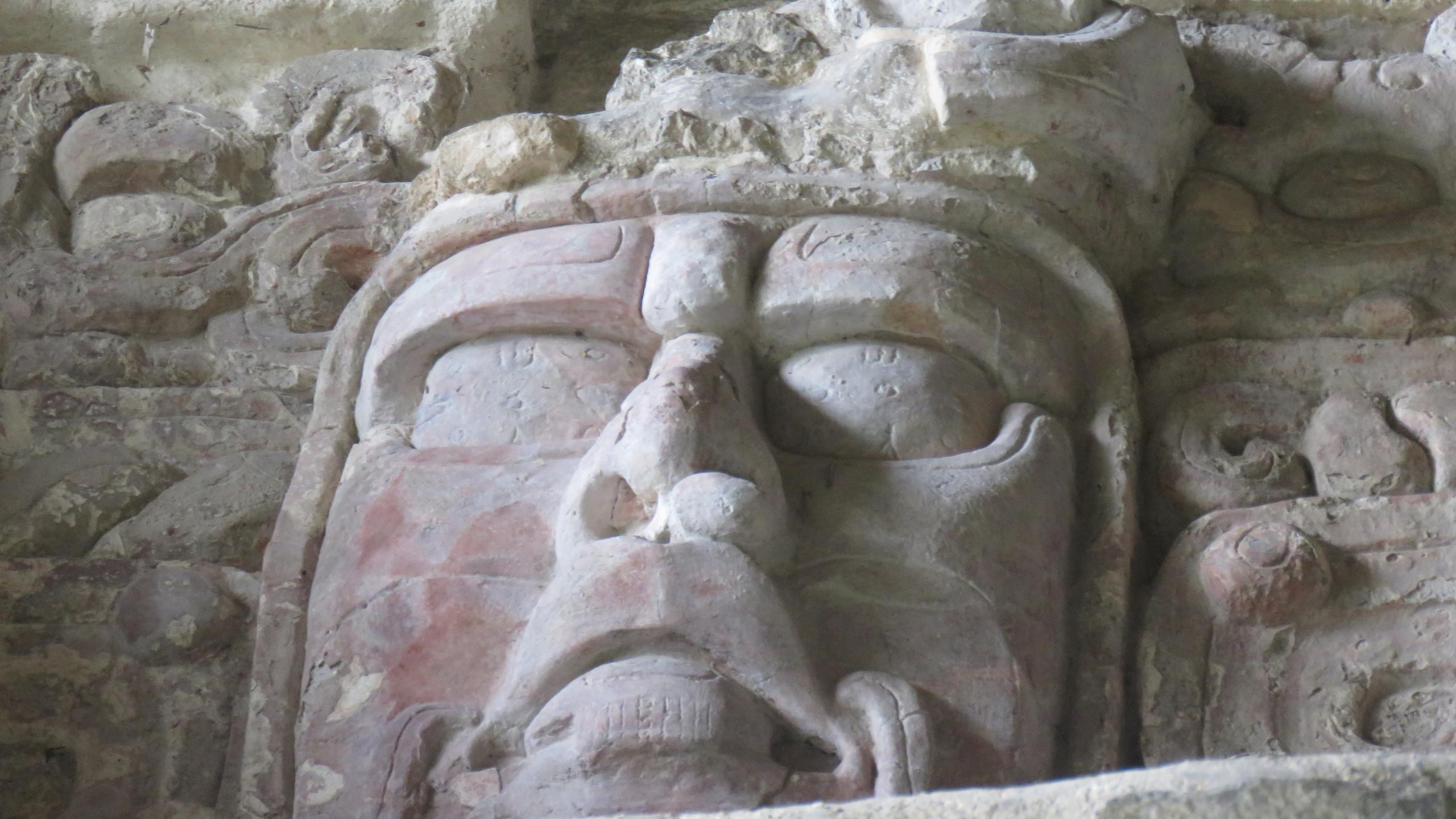 Maschera testa maya Chicanna Calakmul