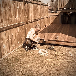 Woman Custom Woodworking Deck yyc calgary