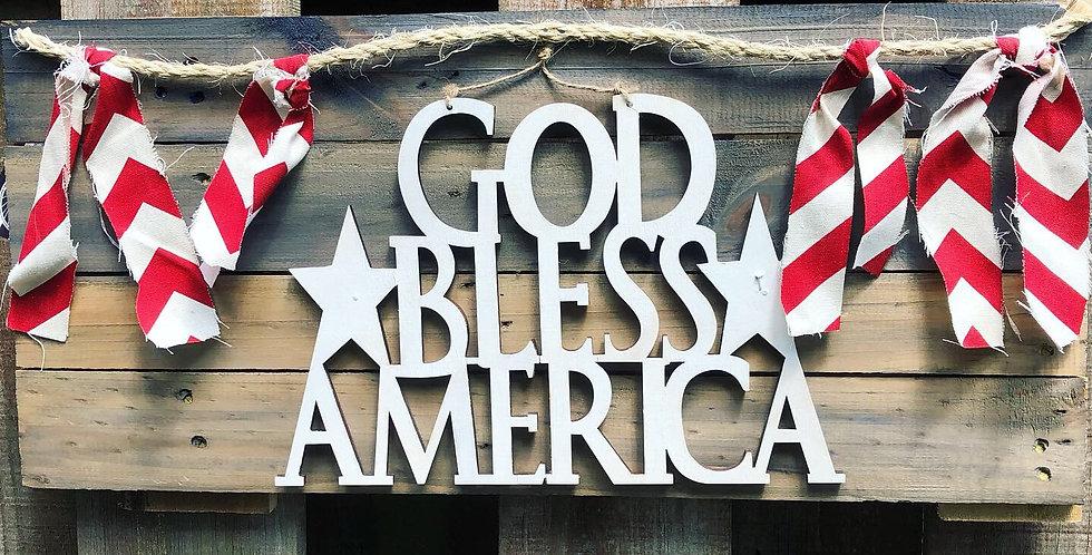 God Bless America Farm House Banner