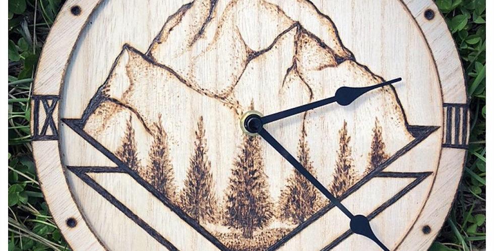 Wood-burned Geometric Clock