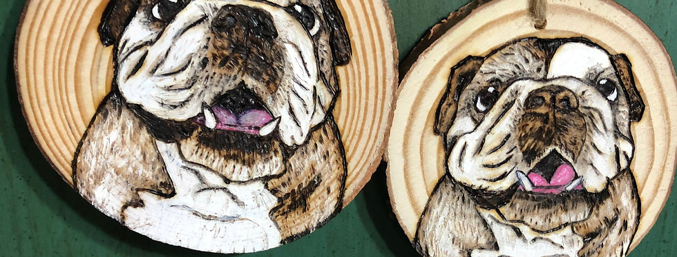 Puppy Wood Slice Portraits