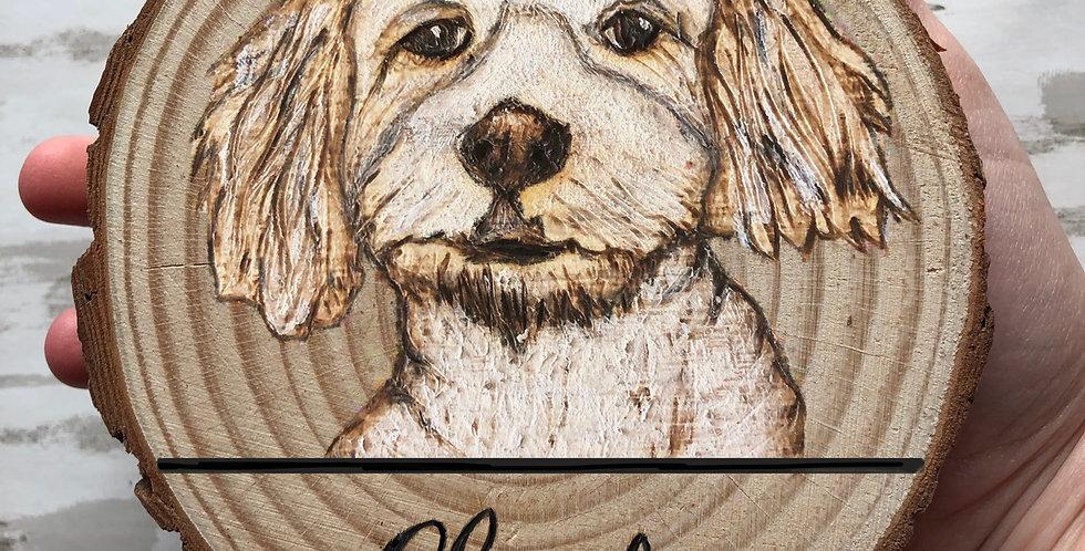 Wood Slice Puppy Portrait
