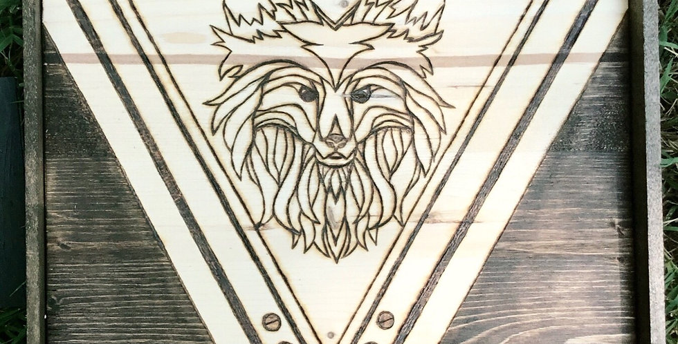 Wood burned geometric fox