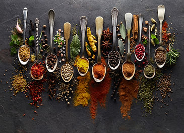 Herbs and spices on graphite background.jpg