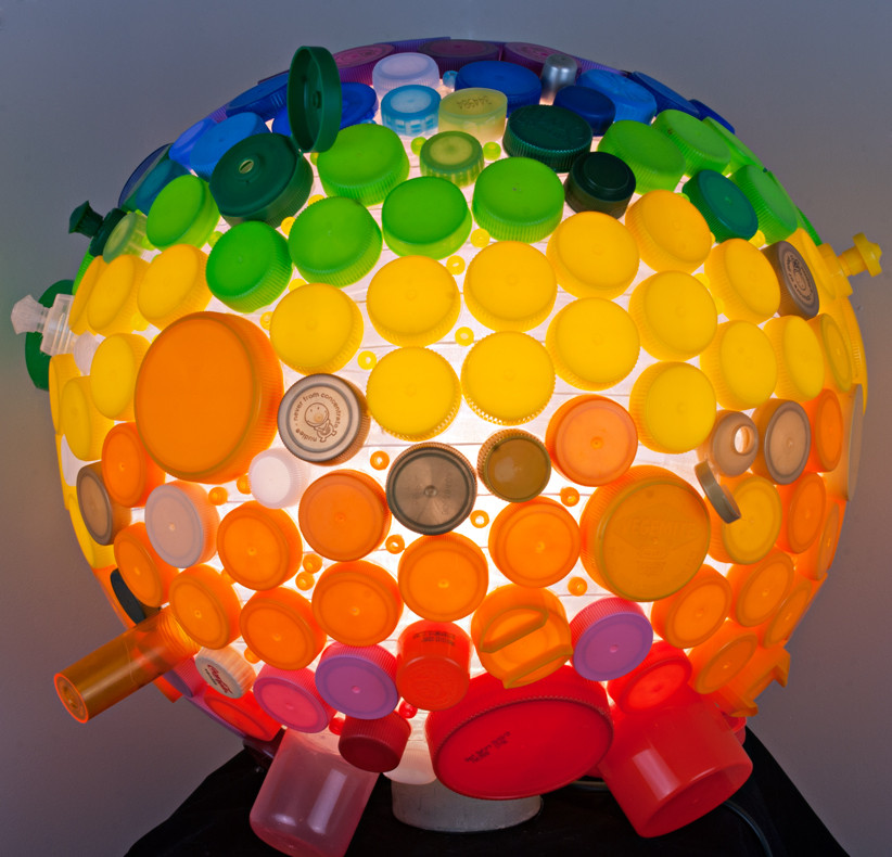 Rainbow - light made of recycled plastic lids