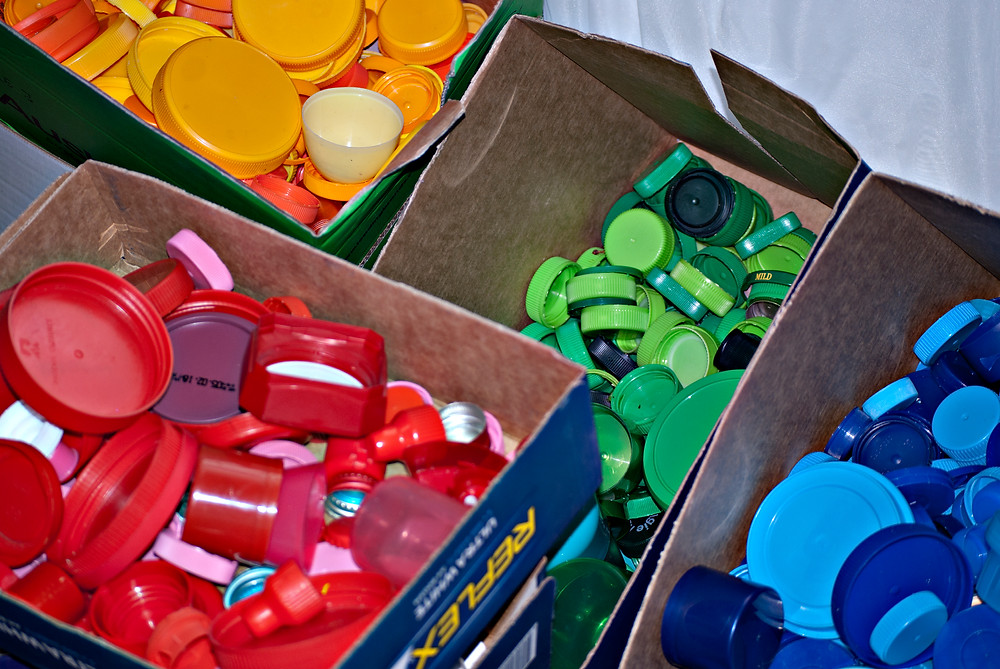 Plastic lids were sorted according to colour