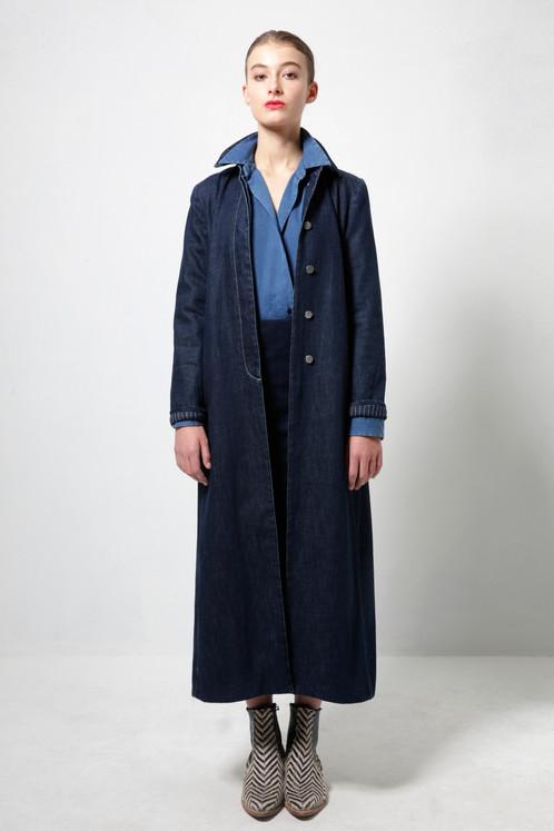 Navy Blue Denim Long Coat   FAÇON JACMIN - Denim Clothing for Women