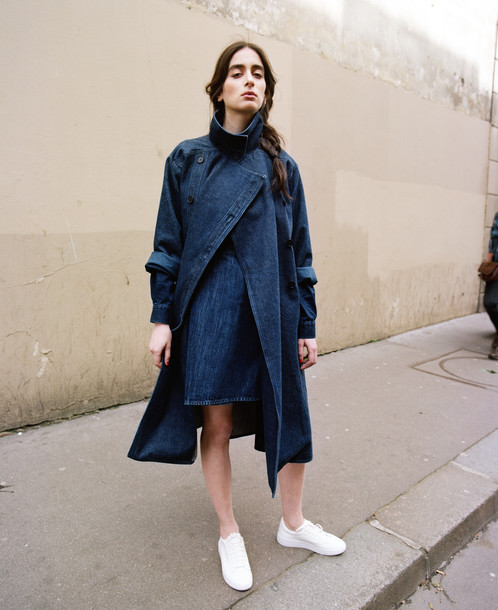 Navy Blue Denim Trench Coat | FAÇON JACMIN - Denim Clothing for Women