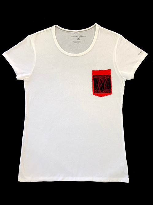 Custom Sewn White - Believe Pocket Red - XL