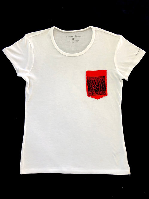 Custom Sewn White - Believe Pocket Red - Large