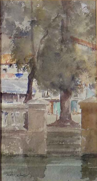 Across the moat, Brantome original water colour by Russell Flint showing a moat tree and stone work
