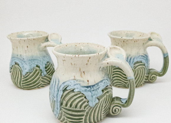 Sage ripples mug, right hand