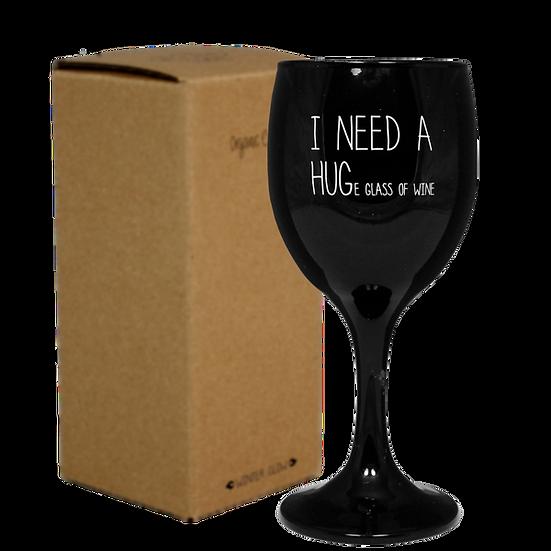 Sojakaars wijnglas - I need a hug(e glass of wine)