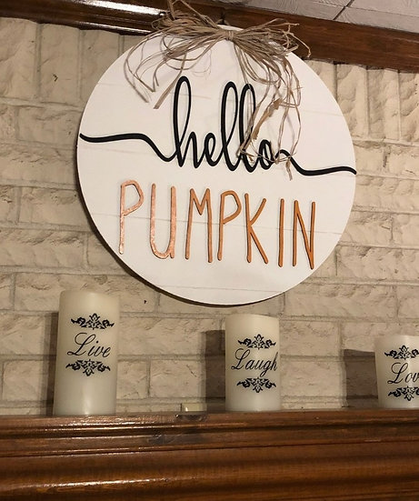 """Hello Pumpkin Door Hanger Sign 18"""" Round 3D Raised Letters"""