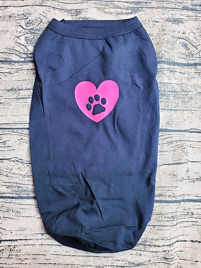 Customized Black & Hot Pink Heart Paw Print Small Breed Dog T-Shirt