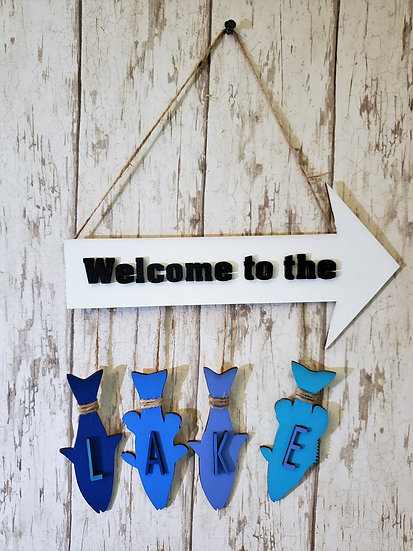 Welcome to the Lake Sign in solid colors