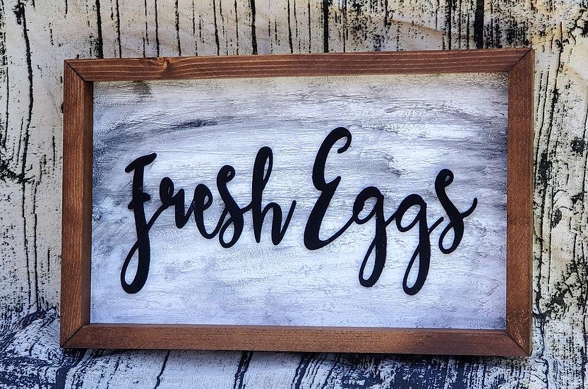 Fresh Eggs Farmhouse Framed Sign