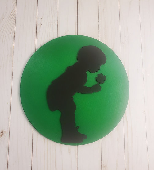 """St Patrick's Day Child and Clover 12"""" Sign"""