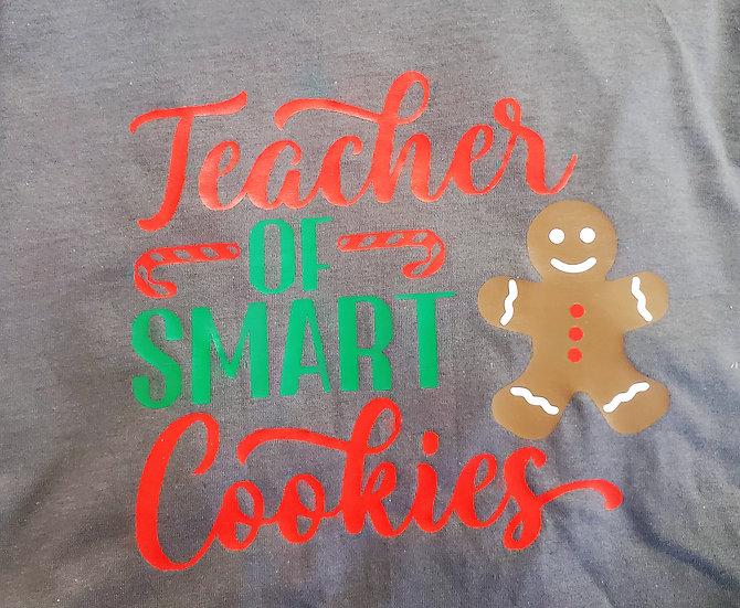 Teacher of Smart Cookies Christmas Gingerbread Holiday Shirt