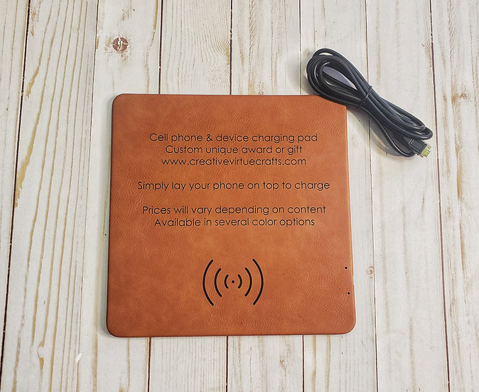 Faux Leather Phone Charging Mat Personalized
