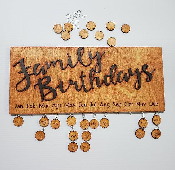 Family Birthday Reminder Sign